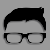 Black silhouette man's hair and glasses