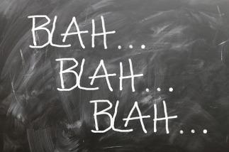 Blah Blah Blah in chalk on blackboard