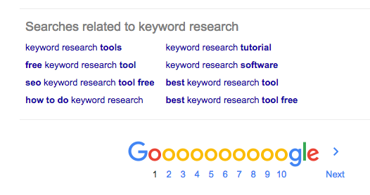 Google screenshot, keyword research