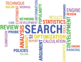 Keyword search image with lots of different words, including optimization, keyword, ranking