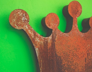 Rusty Crown on Green background