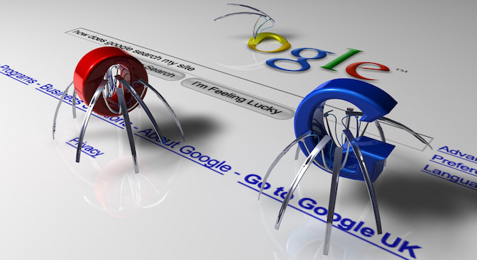 Google SEO spider bot crawling on search page