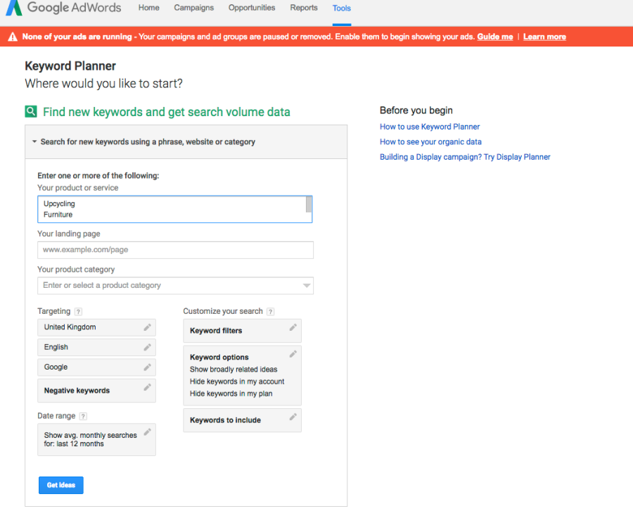 Google Adwords Keyword Planner Tool screenshot