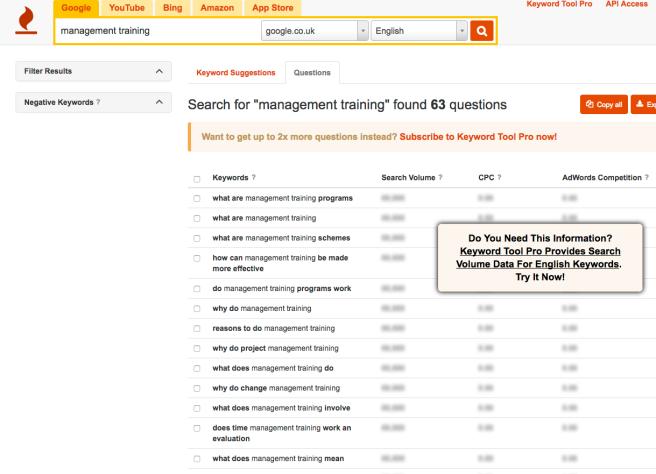 Keywordtool.io question suggestions screenshot