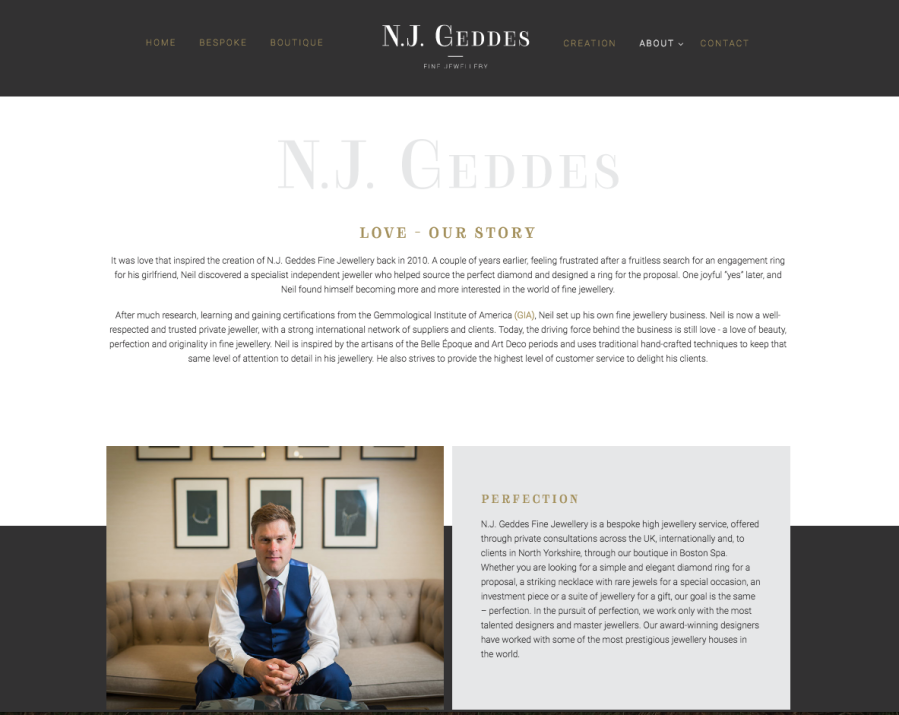 About page for N.J. Geddes website