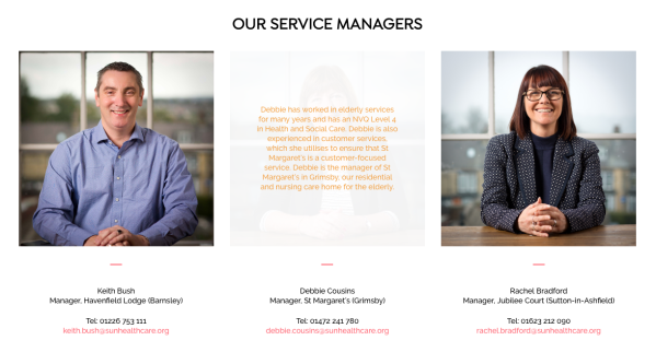 Sun Healthcare service managers, male and female managers