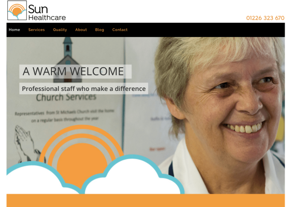 Sun Healthcare homepage, smiling nurse
