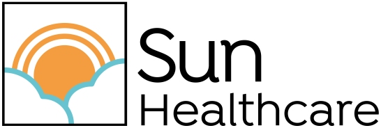 Sun Healthcare logo, sun, clouds