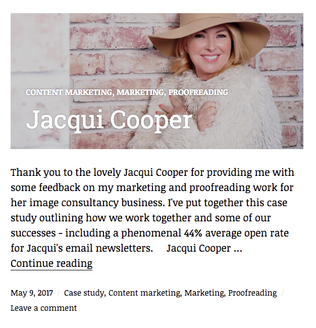 Case study blog example, Jacqui Cooper