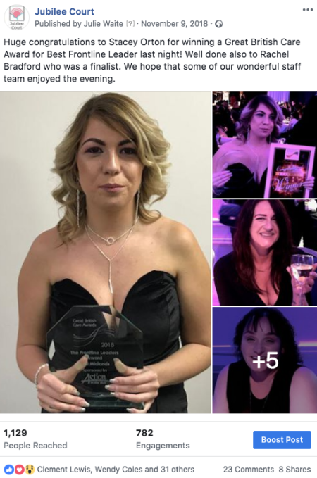 Screenshot of Facebook post winning an award