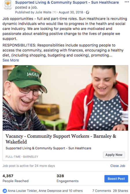 Example Facebook post for a job vacancy