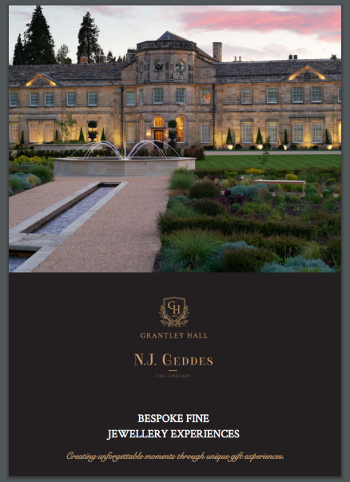 Screenshot of a brochure Grantley Hall and N.J. Geddes Fine Jewellery Gift Experiences