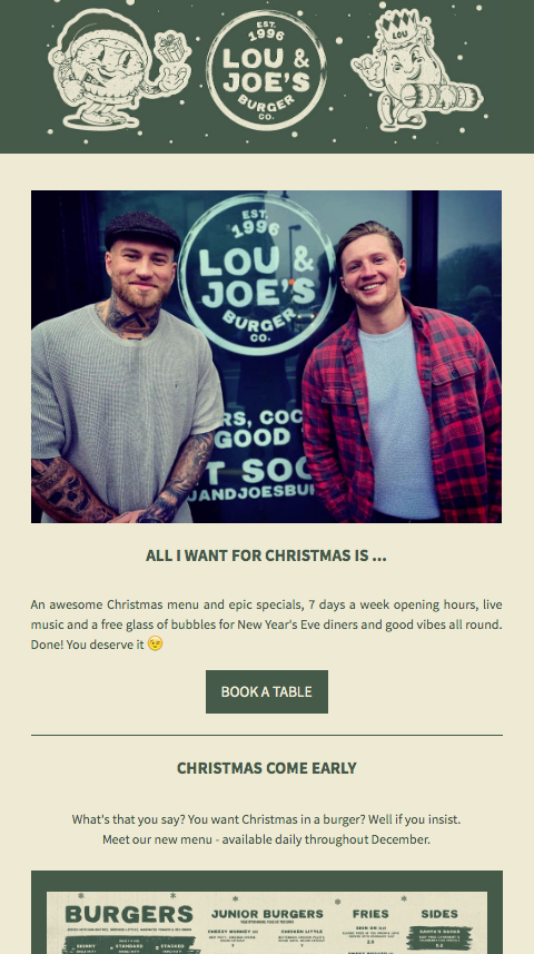 Lou and Joe's Email Campaign screenshot
