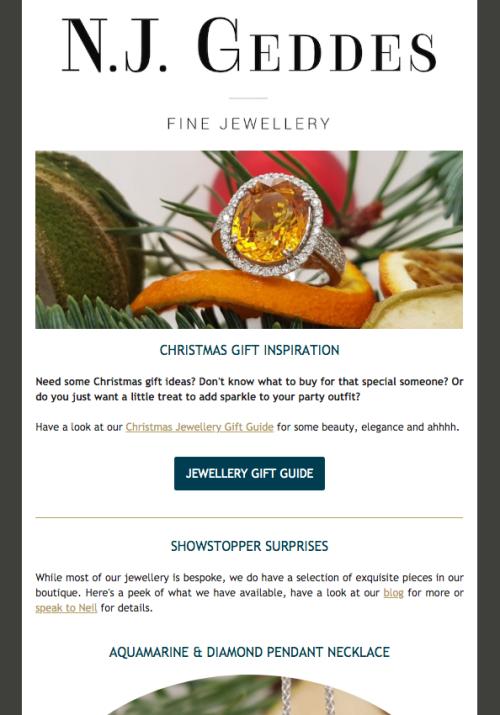 N.J. Geddes Fine Jewellery Email Campaign screenshot